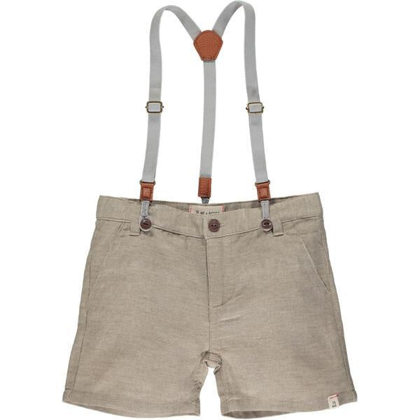 Shorts with Removeable Suspenders - Beige