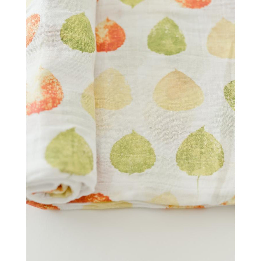 Cotton Muslin Swaddle Blanket - Aspen Leaf