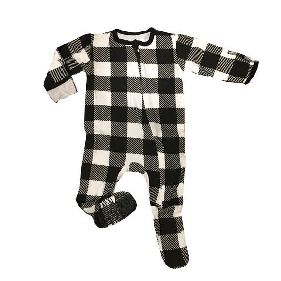 Zipper Footie - Buffalo Check