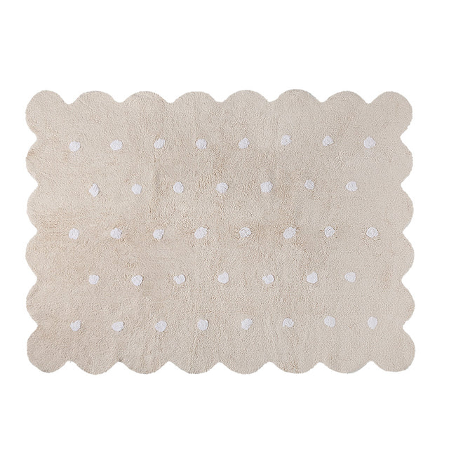 Beige Biscuit Washable Rug