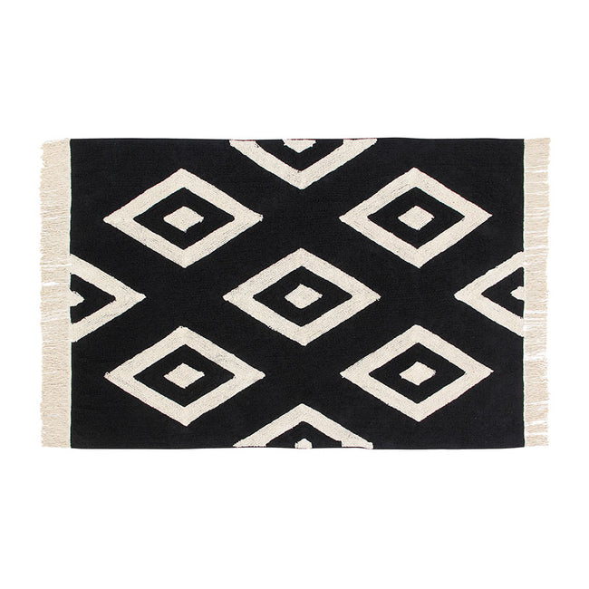 Black Diamond Fringe Washable Rug