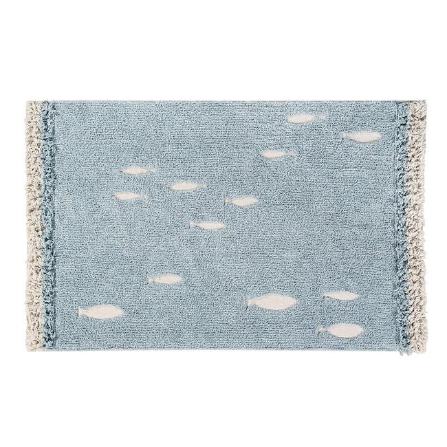 Blue Ocean Shore Washable Rug
