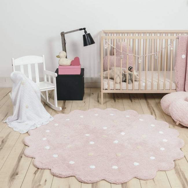 Pink Round Biscuit Washable Rug