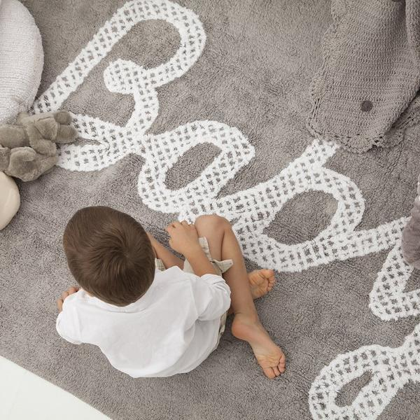 Baby Petit Point Grey Washable Rug