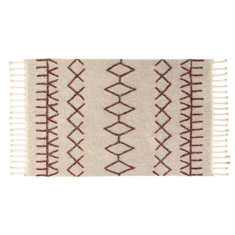 Bereber Burgundy Moroccan Washable Rug