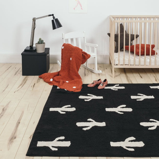 Black Cactus Stamp Washable Rug