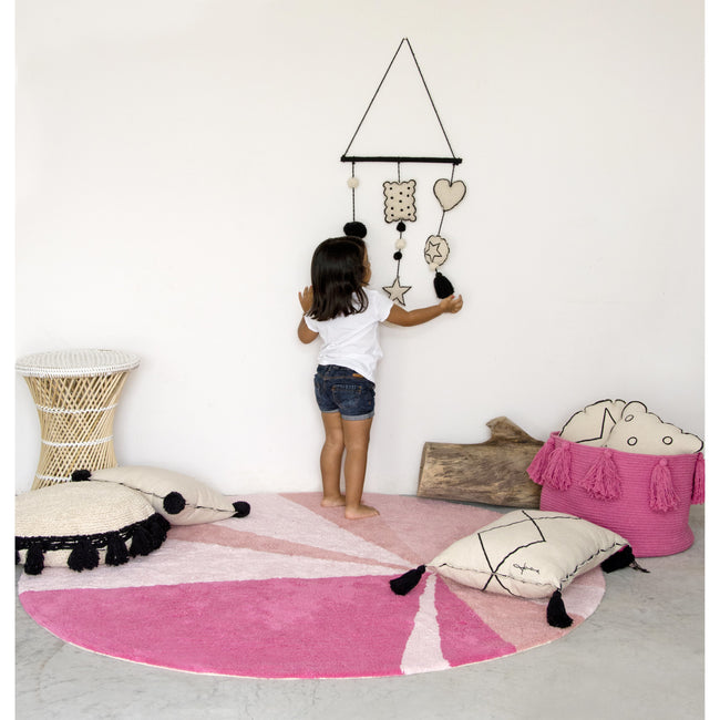 Geometric Pink Washable Rug