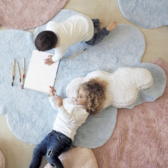 Puffy Blue Cloud Washable Rug