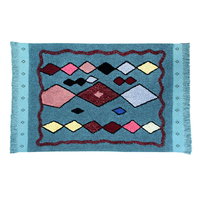 Draa Blue Moroccan Washable Rug