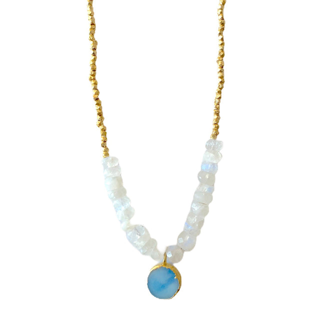 Andrea Necklace - Blue Druzy