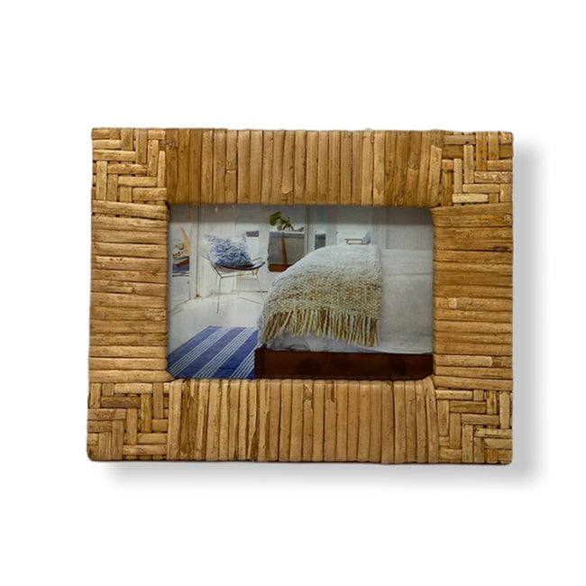 "Hand-Woven Rattan Photo Frame - 7"" x 9"""