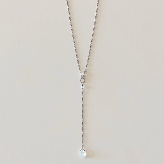 Silver Plated Necklace with Stone Drop