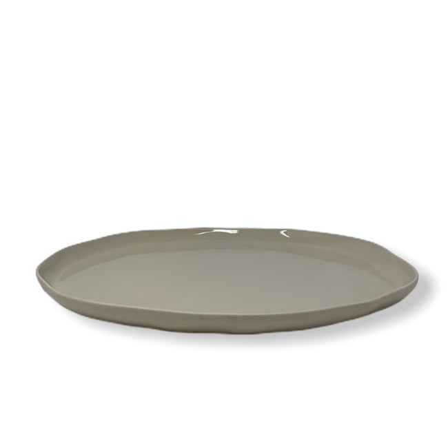 White Stoneware Flat Plate - Medium