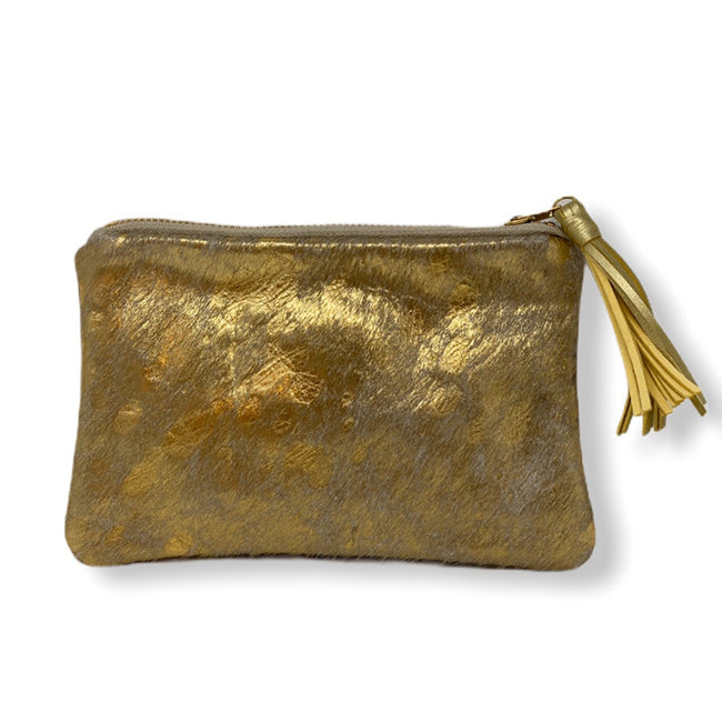 Cowhide Mini Clutch - Gold Metallic