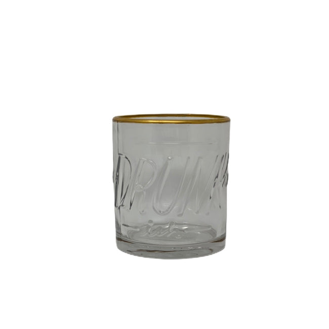 Drunkish Embossed Lowball Glass