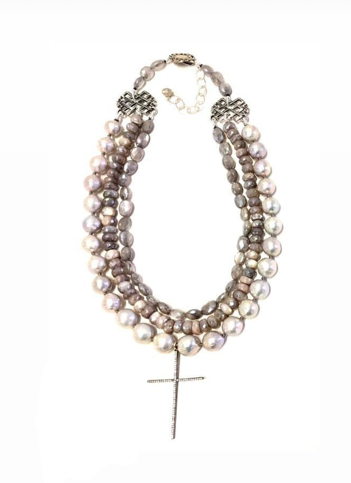 Baroque Pearl Necklace with CZ Cross