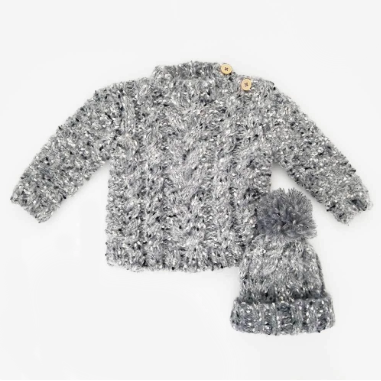 Grey Tweed Mohair Sweater