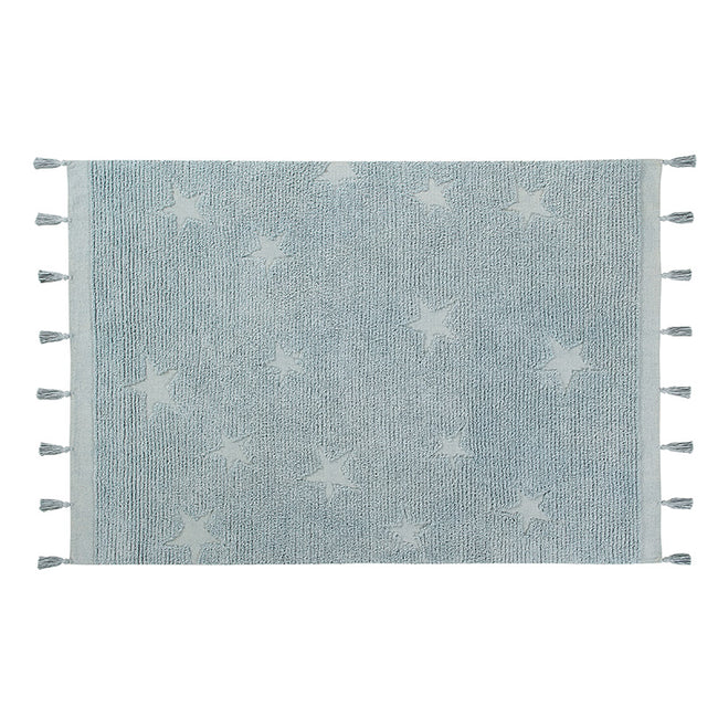Hippy Stars Aqua Blue Washable Rug