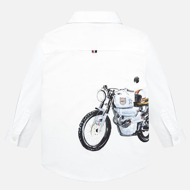 Mayoral White Button Up Shirt Motorcycle