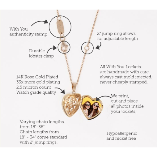 Mary Locket Necklace - Rose Gold