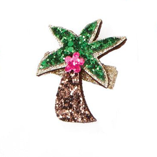 Palm Tree Glitter Hair Clip