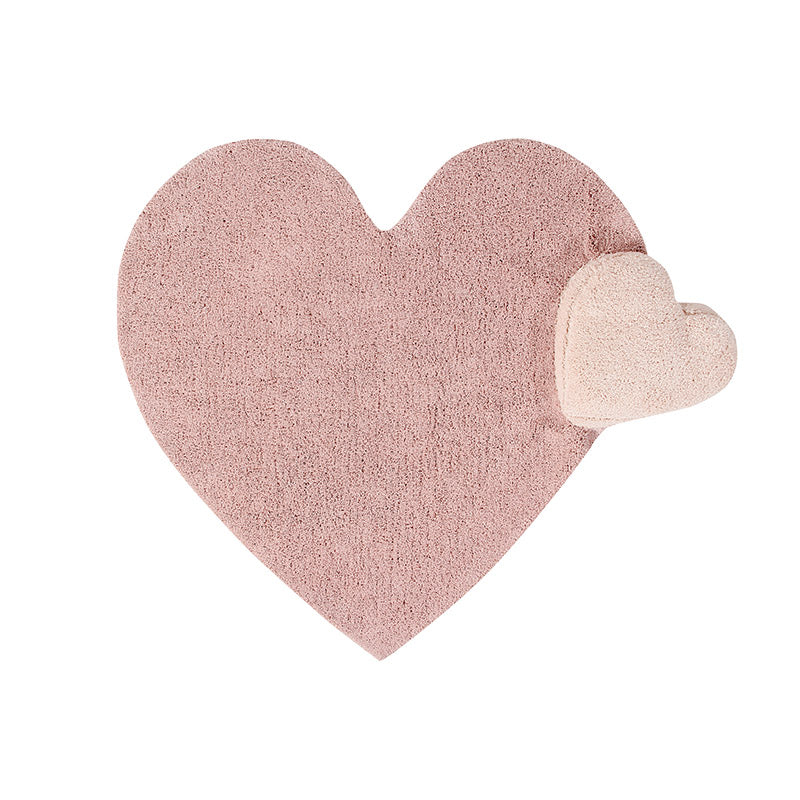 Puffy Pink Heart Washable Rug