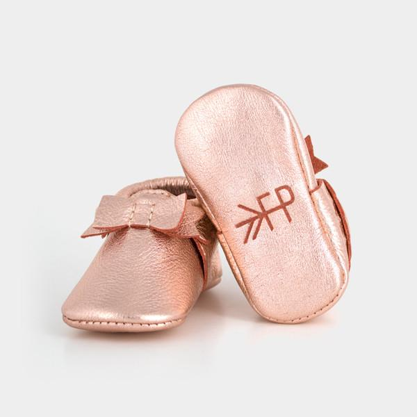 Rose Gold Bow Moccasins