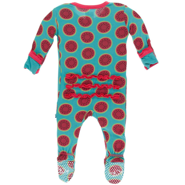 Print Muffin Ruffle Footie with Zipper - Neptune Watermelon
