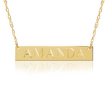 14K Gold Block Bar Nameplate Necklace
