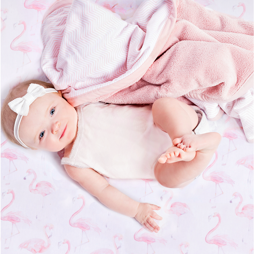 Flamingo Jersey Crib Sheet - Blush