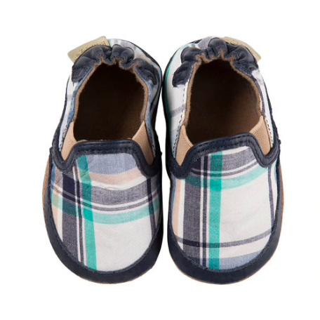 Liam Soft Sole Shoes - Navy Plaid
