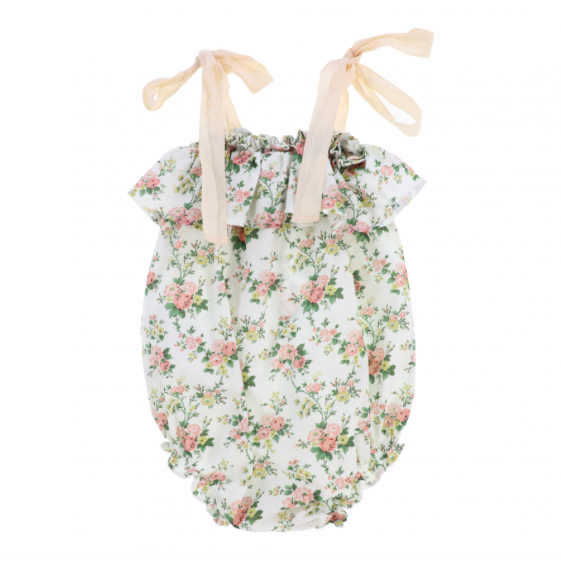Tie Shoulder Onesie - Pink Flower