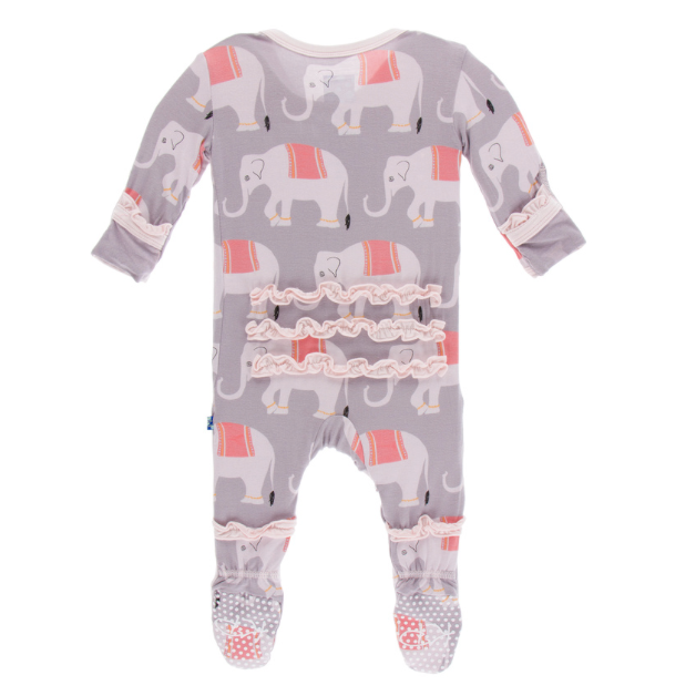 Muffin Ruffle Footie with Zipper - Feather Indian Elephant