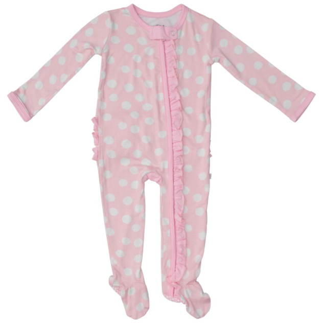 Ruffle Zipper One Piece Footie - Pink Polka Dot