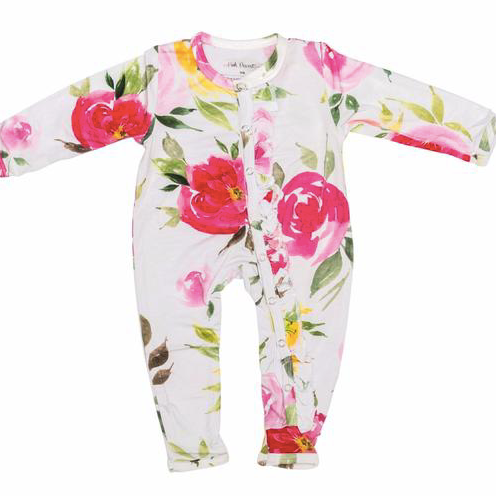 Ruffle Snap One Piece - Watercolor Bloom