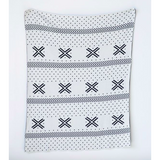 Cotton Knit Pattern Blanket - Black & White