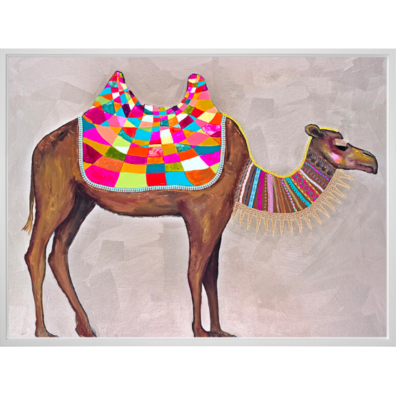 Camel with Ribbons & Lace Canvas Wall Art