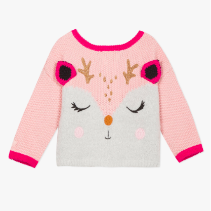 Jacquard Sweater Cardigan - Pink Deer