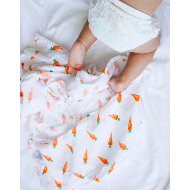 Organic Cotton Swaddle Blanket - Carrot