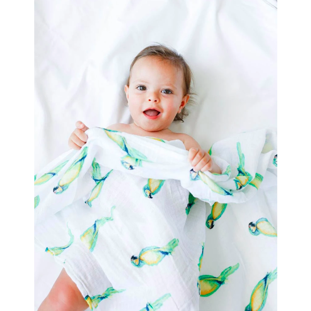 Organic Cotton Swaddle Blanket - Parrot