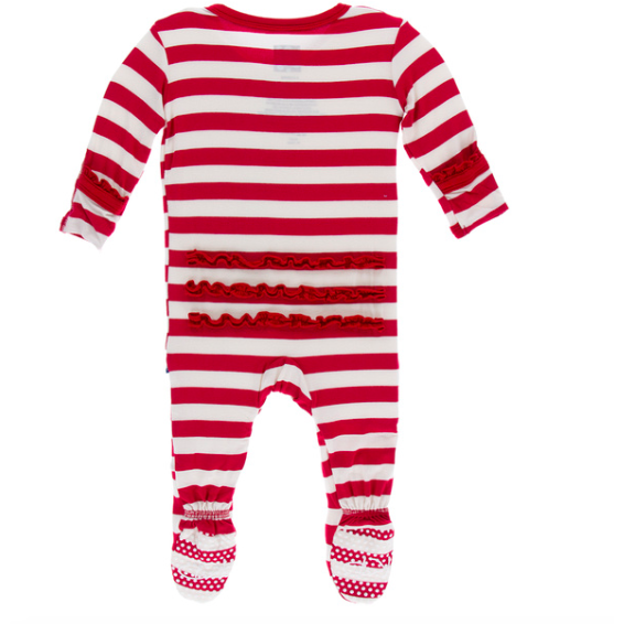Classic Ruffle Footie with Zipper - Candy Cane Stripe
