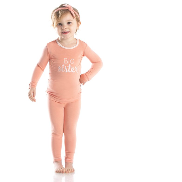Applique Long Sleeve Pajama Set - Blush Big Sister