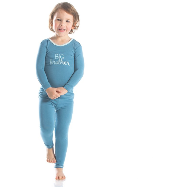 Applique Long Sleeve Sleeve Pajama Set - Blue Moon Big Brother