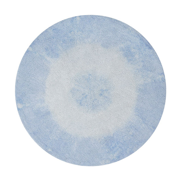Soft Blue Tie-Dye Washable Rug