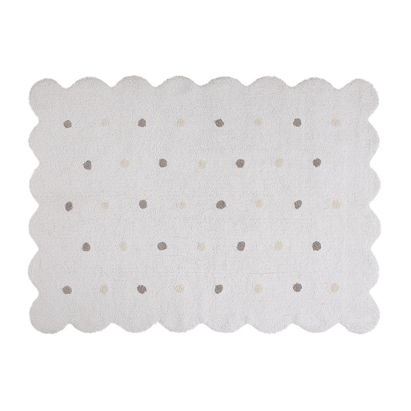 White Biscuit Washable Rug