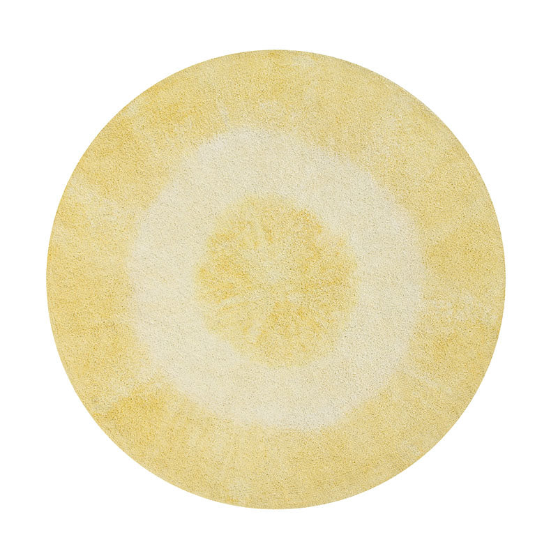 Yellow Tie-Dye Washable Rug