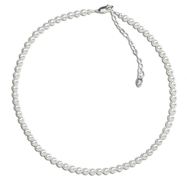 Serenity Sterling Silver Beaded Necklace - Element Swarovski Pearl