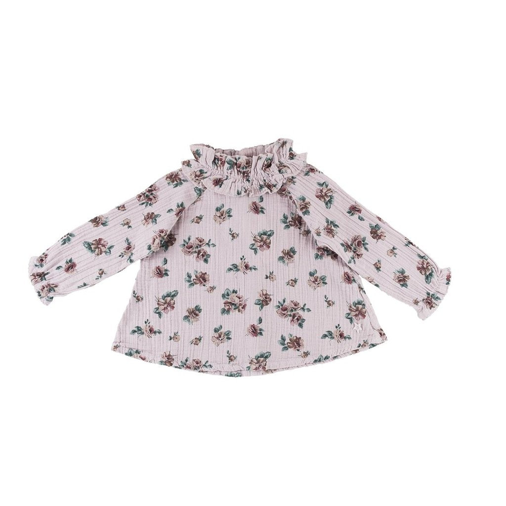 Print Blouse with Double Ruffled Neck - Pink Flower