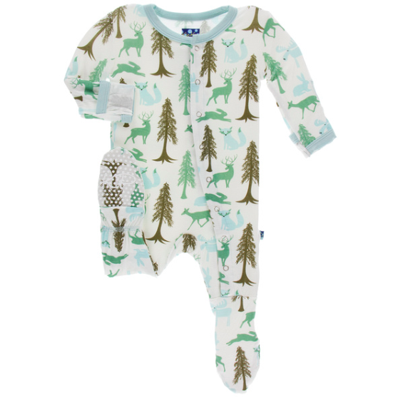 Print Footie with Zipper - Natural Woodland Holiday
