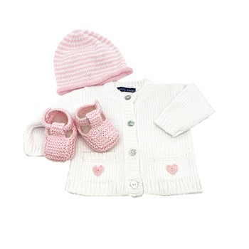 Heart Cardigan, Hat & Booties in a Basket